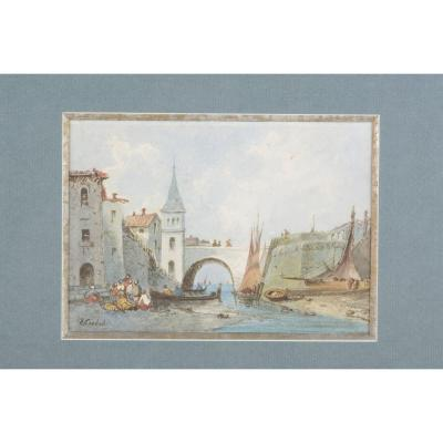 Bridge With Boats - Eugène Ciceri 1813-1890