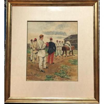 Le Cheval De Bois - Lithographie - Eugène Chaperon 1857-1938