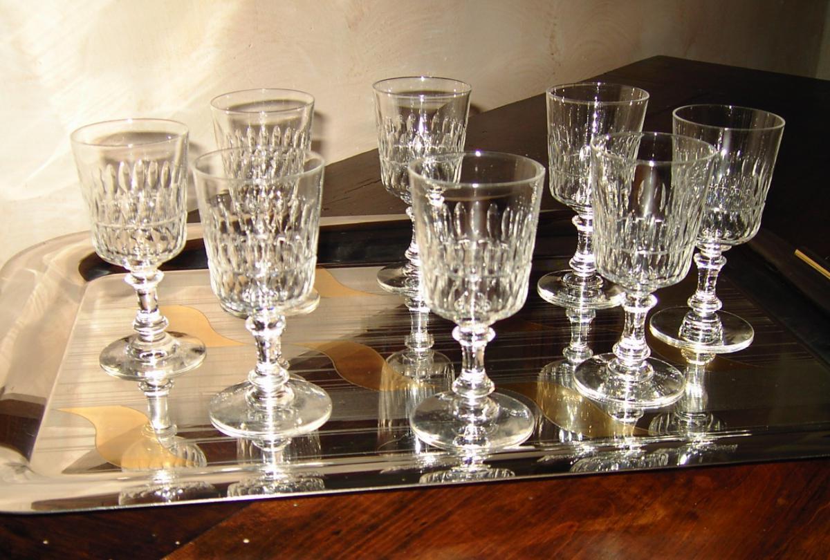 S rie de 8 verres porto en cristal 1900 verres vin services verres anc - Verres en cristal anciens ...