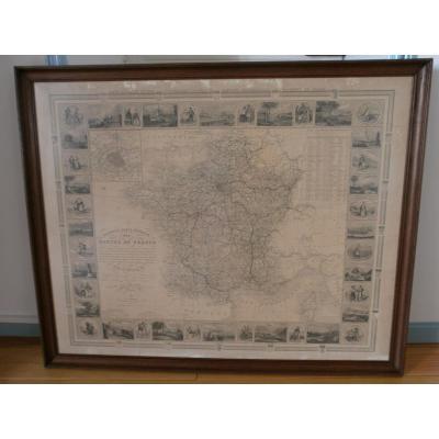 Grande Carte Illustrée Des Routes De France - XIXe