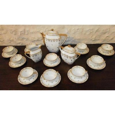 Service à Café Blanc Et Or En Porcelaine De Limoges