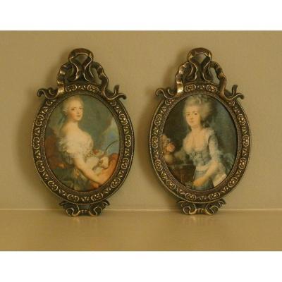 Paire De Miniatures De Style Louis XV