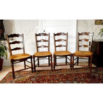 Suite De 4 Chaises Paillées Rustiques