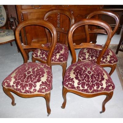 Chaises En Noyer Massif Style Louis Philippe.