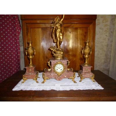 Garniture De Cheminée En Régule Et Marbre Griotte