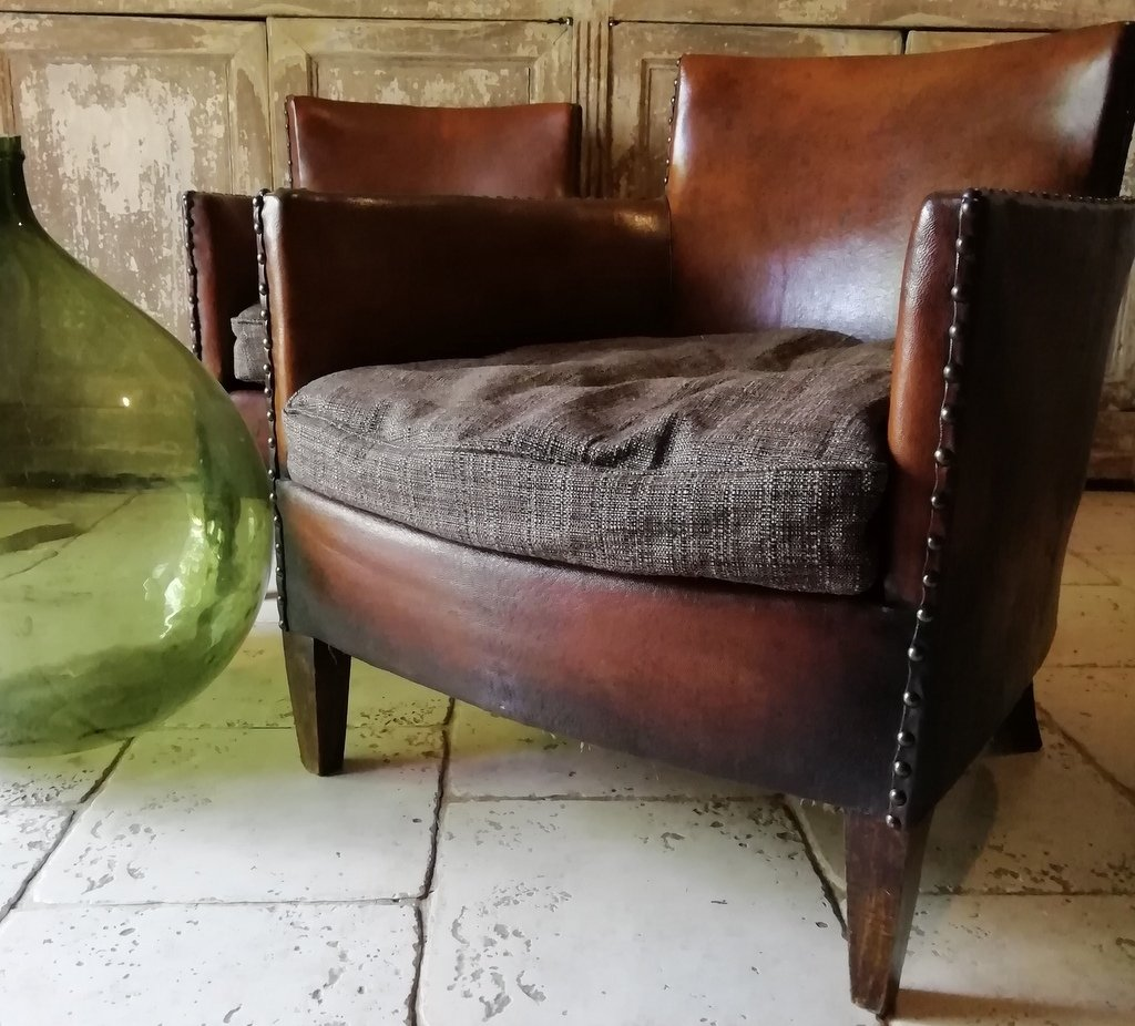 Pair Of Leather Armchairs, Club