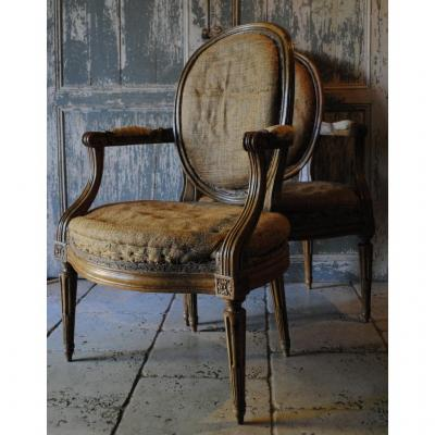 Pair Of Louis XVI Armchairs Stamp Georges Jacob