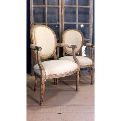 Pare Of Armchairs Louis XVI, 18th