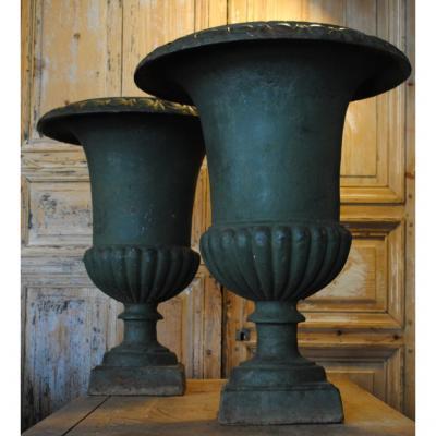 Paire De Vases Medicis Ht 63cm