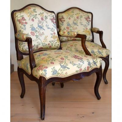 Pair Of Louis XV Armchairs, 18th
