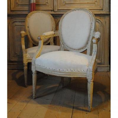 Paire De Fauteuils Louis XVI , 18eme