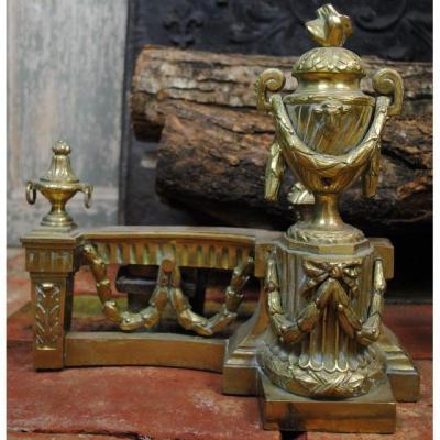 Pair Of Bronze Andirons Louis XVI Style