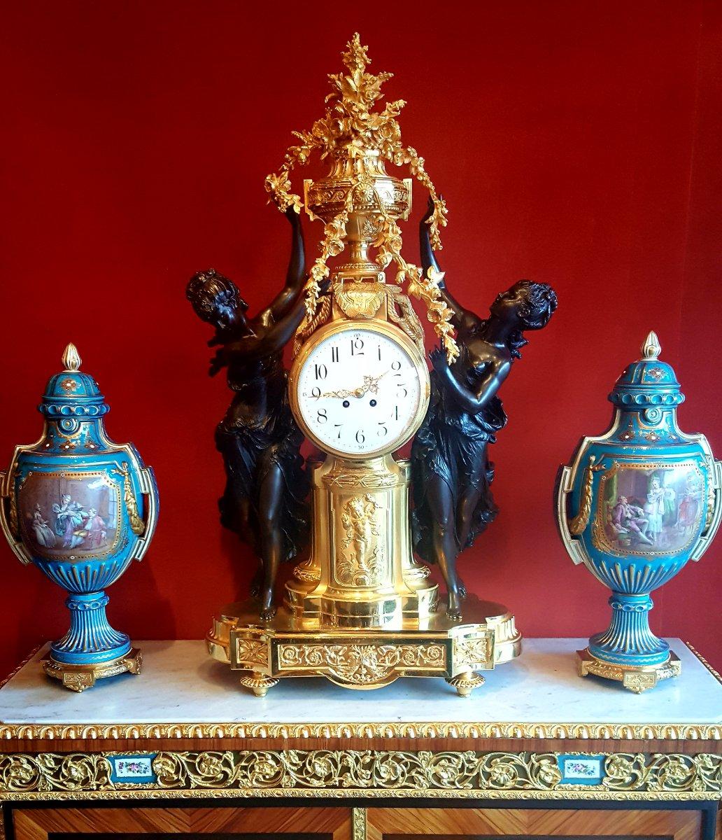 Exceptionnelle Pendule En Bronze Doré Et Patiné Fin 19ème Siècle