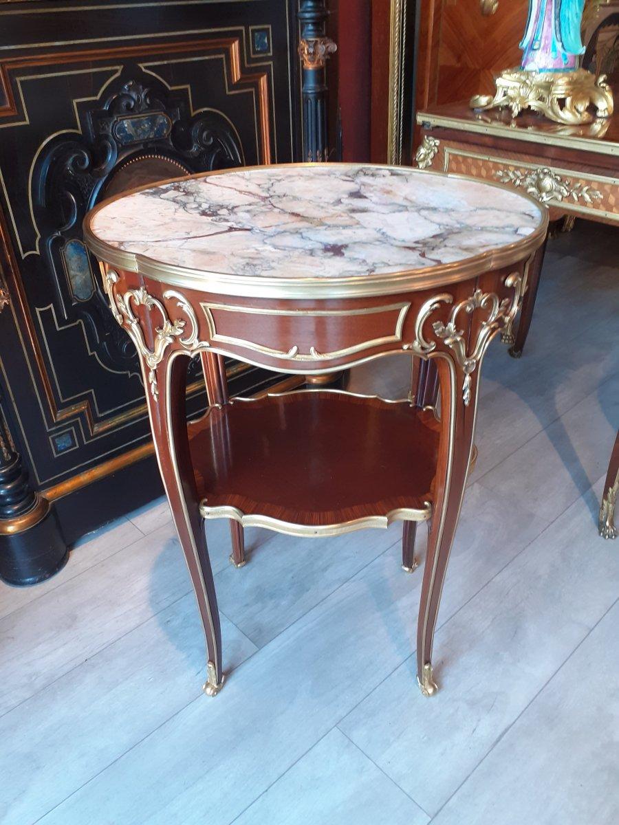 Gueridon En Acajou Et Bronze Doré Style Louis XV Fin 19ème Siècle