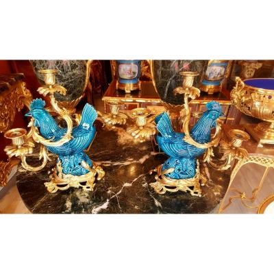 Pair Of Candelabra In Gilt Bronze And Porcelain From China