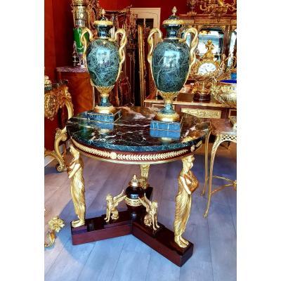 Important Gueridon Bronze Doré d'Après Desmalter Style Empire