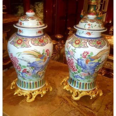Importante Paire De Vase En Porcelaine De Samson 19ème Siècle