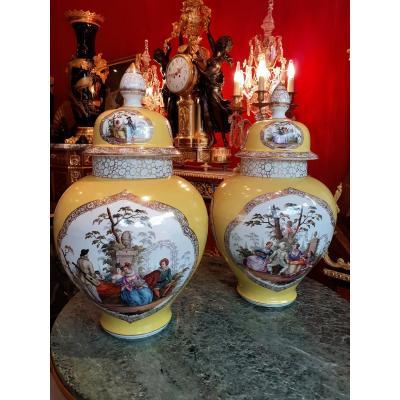 Pair Of Important German Porcelain Cutlery Vases Augustus Rex Style