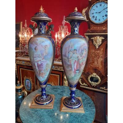 Pair Of Very Important Earthenware Vases Sevres Style Late 19th Century