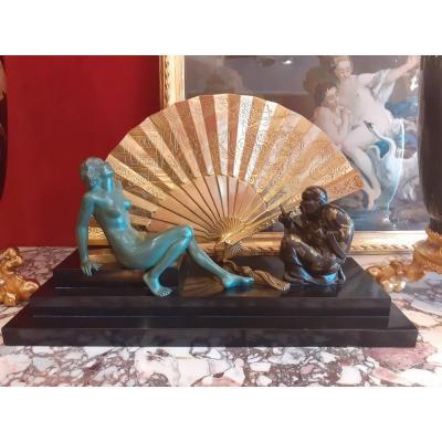 Sculpture en Bronze Epoque Art Déco Signé Soleau