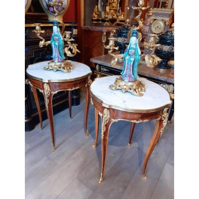 Pair Gueridon In Mahogany And Gilt Bronze Louis XV Style Late 19th Century