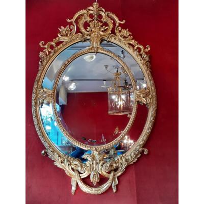 Important Miroir En Bois Et Stuc Doré Epoque Napoléon III