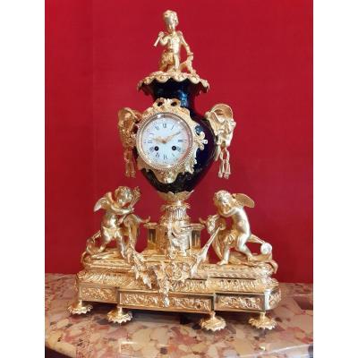 Sèvres Blue Porcelain Clock In Gilt Bronze Napoleon III Period