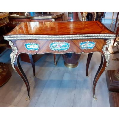 Marquetry Game Table Sèvres Porcelain Plate And Gilt Bronze Napoleon III Period