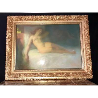 "Victor Marec Pastel "" Nude Woman In Bed """