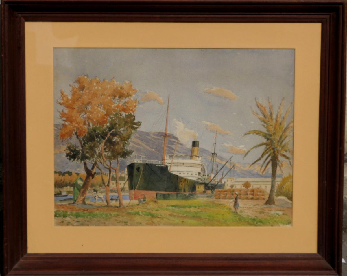 Watercolor 1920 Cargo In An Exotic Landscape