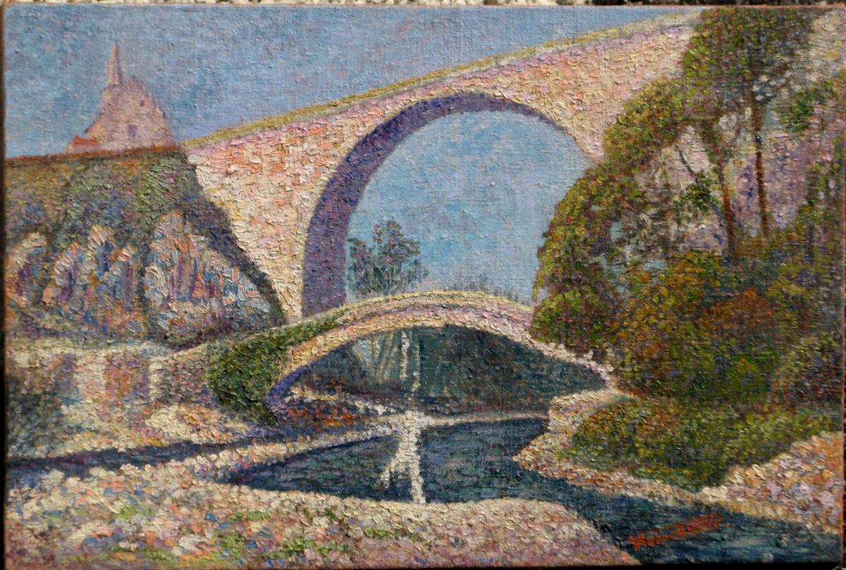 Landscape Pointilliste: Two Bridges Pierre-perthuis