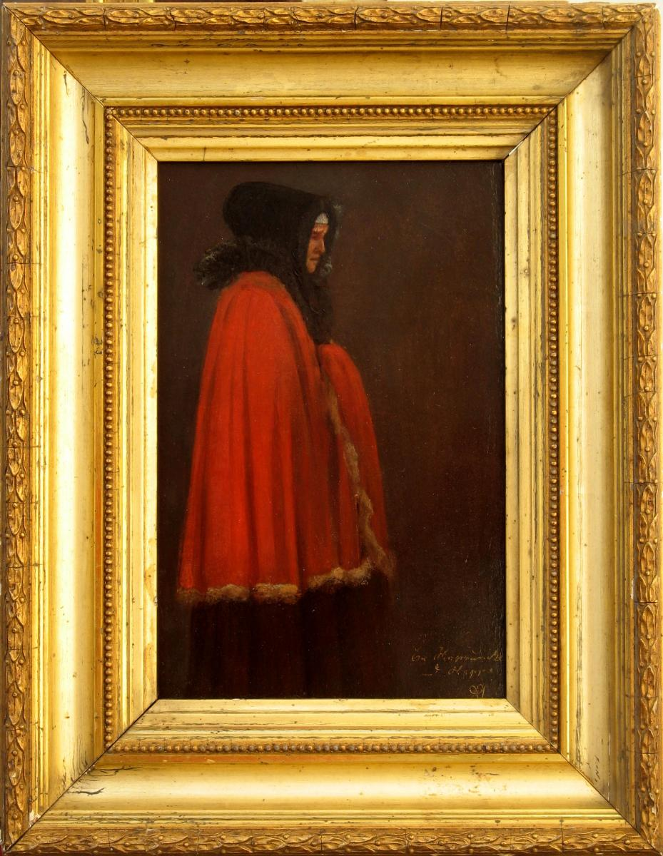 Russian Oil On  Paper: The Red Coat