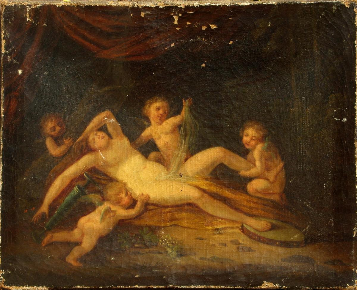 Bacchante Ivre Taquinee By Putti