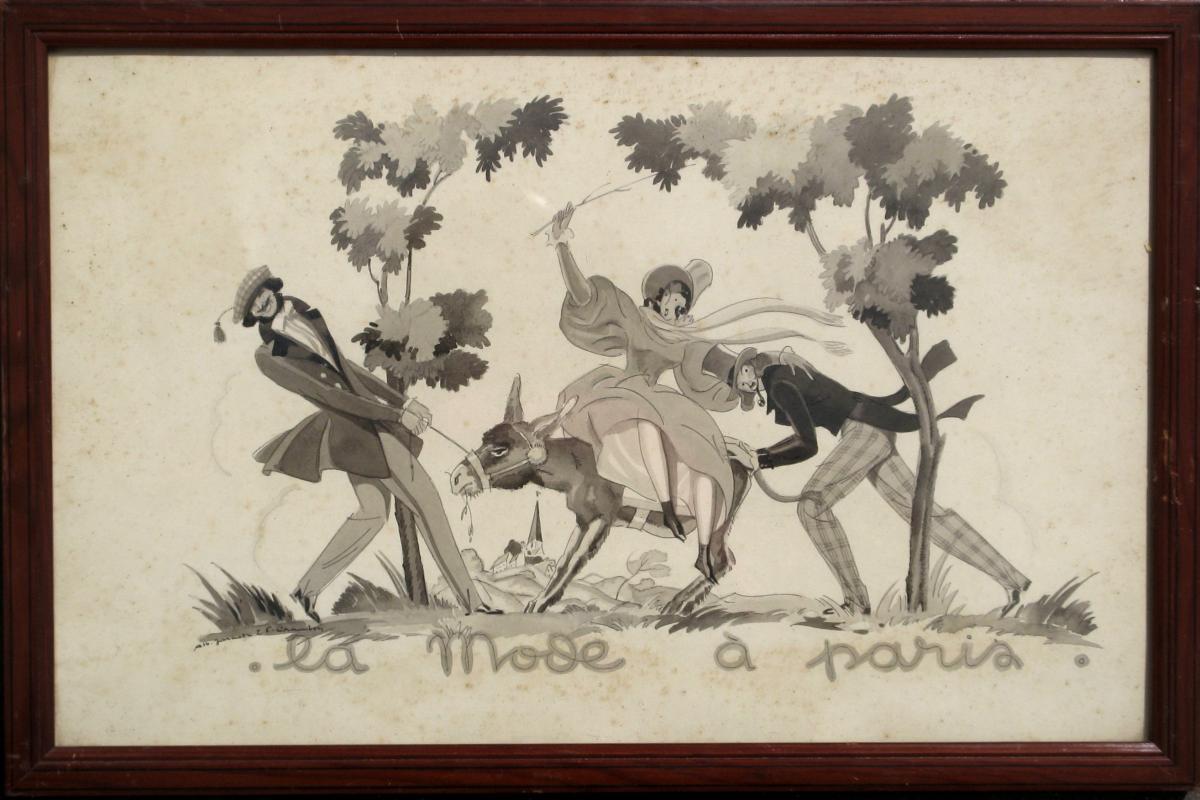 """ALBERT JARACH : DESSIN ORIGINAL DE MODE """"L'ÂNE"""""""
