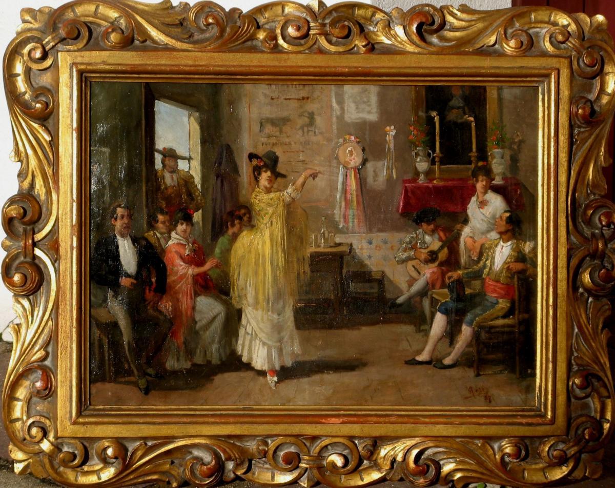 """ANTONIO COLL Y PI : """"FLAMENCO APRES LA CORRIDA"""" 1887"""