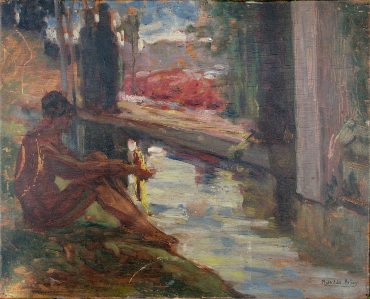 "Mathilde Arbey : Two-sided Painting ""nude At The Edge Of The River"" / ""reading At The Show"""