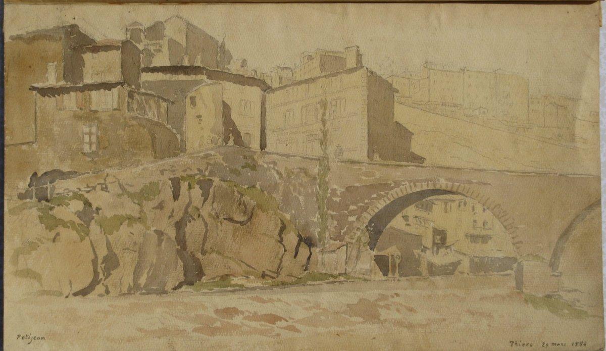 "PETITJEAN : AQUARELLE ""THIERS""1884"