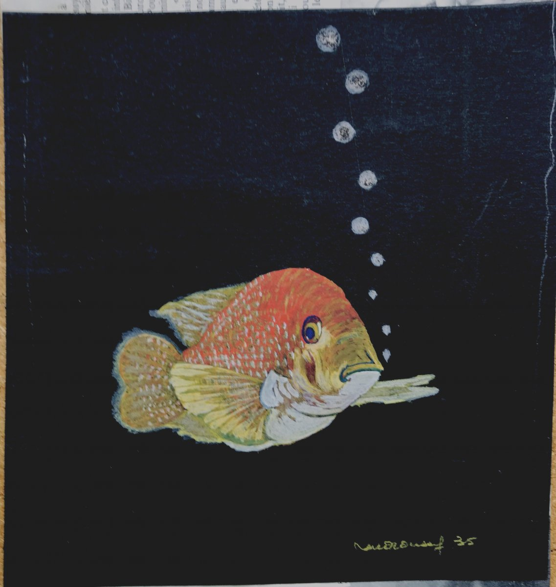 "Art-deco : Two Gouaches ""exotic Fish 1935"""