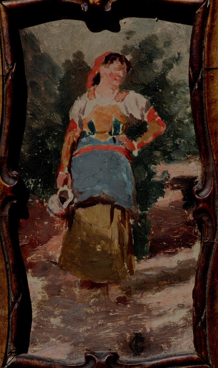 """ECOLE ITALIENNE VERS 1880 : """"JEUNE FEMME A LA CRUCHE""""-photo-2"""