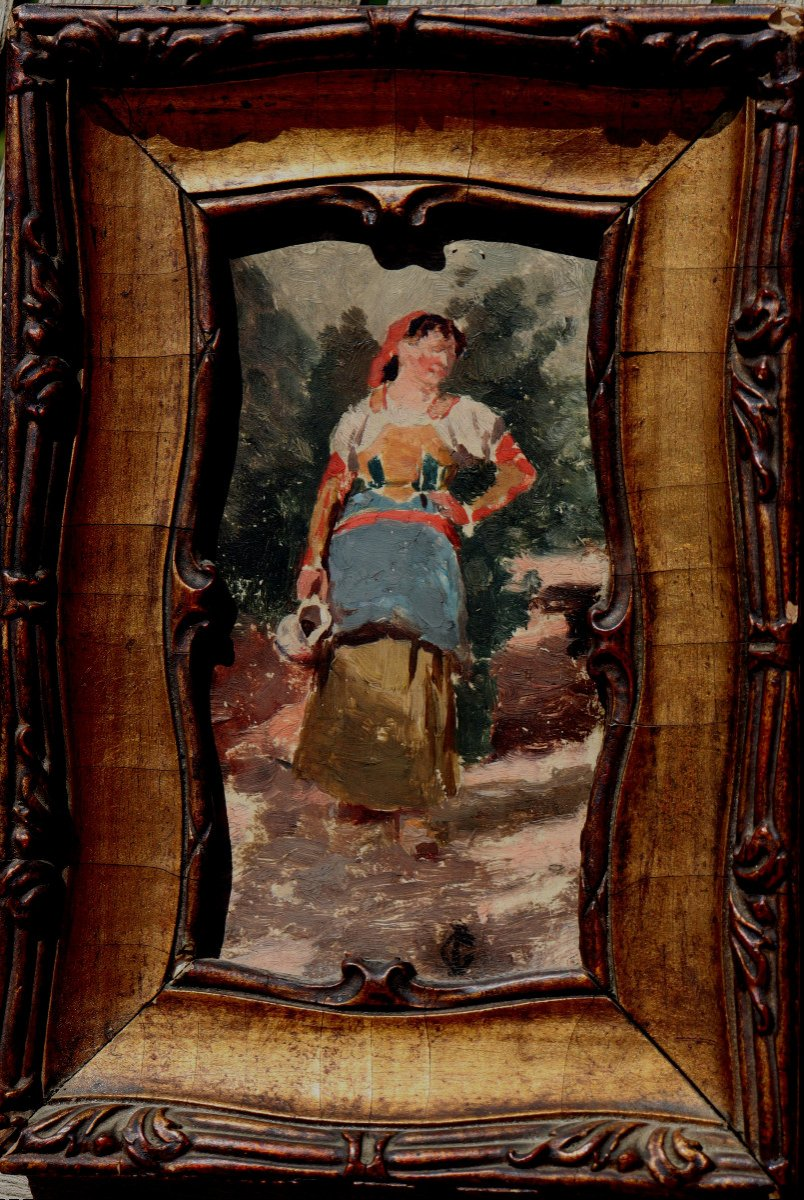 "ECOLE ITALIENNE VERS 1880 : ""JEUNE FEMME A LA CRUCHE"""