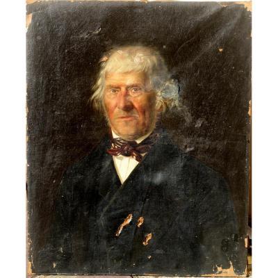 HUILE SUR PAPIER DEBUT XIXème : PORTRAIT D'HOMME