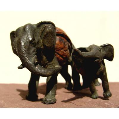 Bronze And Nuts : Elephant And Its Small
