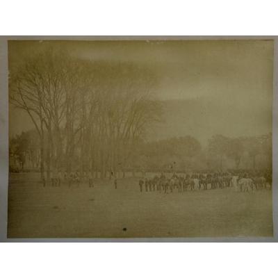 "TRES GRANDE PHOTOGRAPHIE 1850 : ""CEREMONIE MILITAIRE"""""