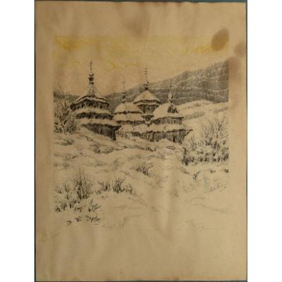 """Drawing : """"russian Church Under Snow"""" 1930"""