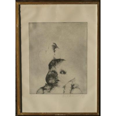 "Hella Rost : Surrealistic Engraving ""the Pigeon Child"""