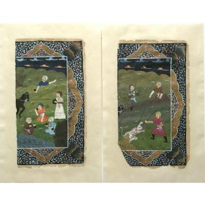 Pair Of Miniatures Persanes XIXth