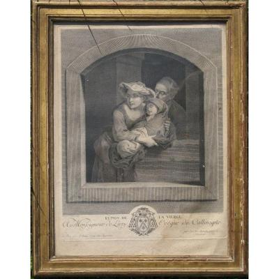 "J.g. Wille : Eighteenth Print ""the Rest Of The Virgin"" Golden Frame"