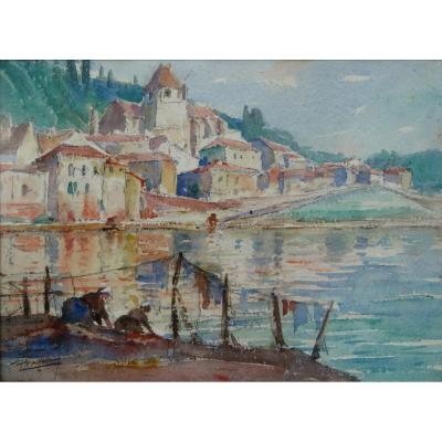 "Leopold Pradere: ""the Washing Women In Port Sainte-marie"""