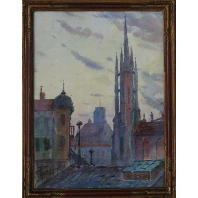 "Leopold Pradere : ""bell Tower Of The Saint-hilaire d'Agen Church"""