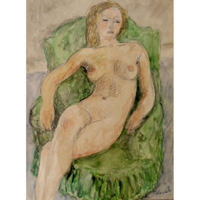 "Pierre Deval : Watercolor ""nude In A Green Armchair"""